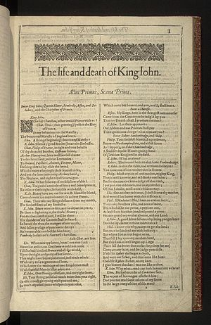 Shakespearean history - Opening page of the First Folio King John