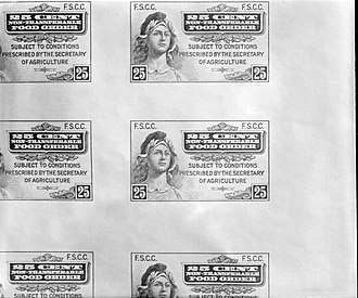 Ration stamp - First American food stamps, April 20, 1939.