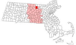 Location in Worcester County in Massachusetts的位置