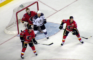 Dustin Brown - Brown screens goaltender Miikka Kiprusoff during the 2010-11 season
