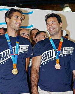 Flickr - Government Press Office (GPO) - Gold Medalist Windsurfer Gal Fridman and Bronze Medalist Judoka Arik Ze'evi.jpg