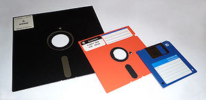 8-inch, 5,25-inch, and 3,5-inch floppy disks