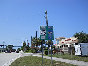 Florida State Road 732 - Sign just south Intersection of NE Savanna(h) Rd. and NE Jensen Beach Blvd. indicating junction of SR 732 to the west and CR 707A to the east