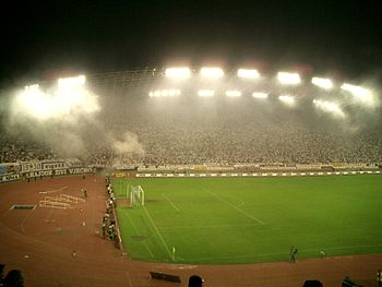 Football derby between Hajduk Split and Dinamo Zagreb