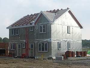 Forge Wood - The first house (pictured in September 2014 while under construction) faces Steers Lane.