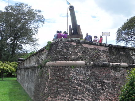 Fort Cornwallis in George Town was built on the spot where Francis Light first set foot in 1786. Fort Cornwallis Eck.JPG