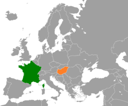 Map indicating locations of France and Hungary