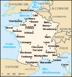 Map of France (wp-EN), with names in French