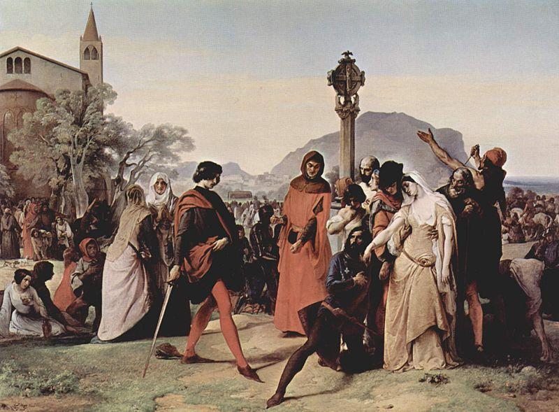 Drouet trafitto dalla spada viene ucciso, da I Vespri siciliani di Francesco Hayez