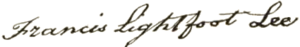 Francis Lightfoot Lee - Image: Francis Lee signature