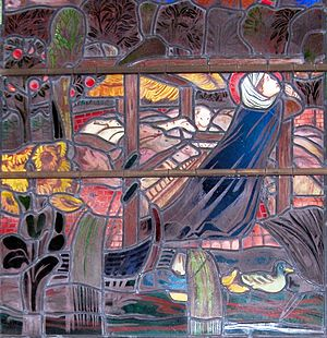Frithuswith - Frithuswith hides amongst swine to escape from Algar. Stained-glass window in Christ Church, Oxford.