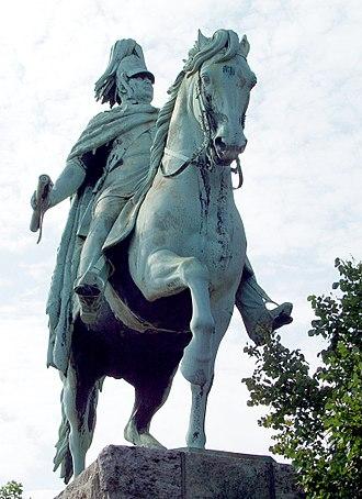 Hohenzollern Bridge - Image: Friedrich Wilhelm IV. von Preußen Statue an der Hohenzollernbrücke Köln