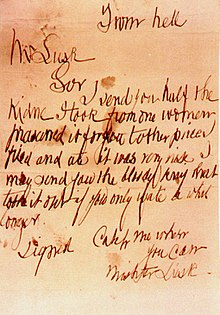 Scrawled and misspelled note reading: From hell—Mr Lusk—Sir I send you half the kidne I took from one woman prasarved it for you tother piece I fried and ate it was very nise I may send you the bloody knif that took it out if you only wate a whil longer—Signed Catch me when you can Mishter Lusk