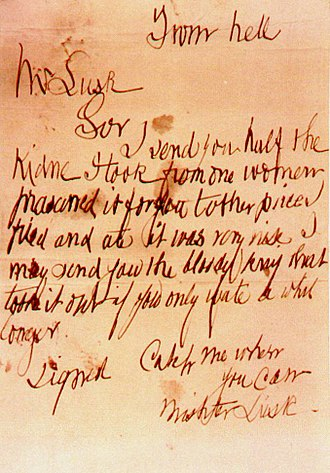 "Catherine Eddowes - ""From hell"" letter"