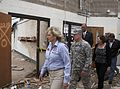From left, Oklahoma Gov. Mary Fallin leads U.S. Army Gen. Frank J. Grass, the chief of the National Guard Bureau, on a tour through the Plaza Towers Elementary School in Moore, Okla., May 28, 2013, where seven 130528-Z-VF620-4642.jpg