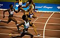 From lower center - Tori Bowie, Dafne Schippers and Veronica Campbell Brown racing at the 2016 Doha Diamond League.jpg