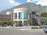 Front of public library in Springville, Utah, Jun 15.jpg