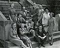 Front row (left to right)- Cornelia V. Christenson; Mrs. Leser; Clyde E. Martin. Arranged on steps (left to right)- Mrs. Brown; Paul H. Gebhard; William Dellenback; Alfred E. Kinsey; Wardell B. (5493916199).jpg