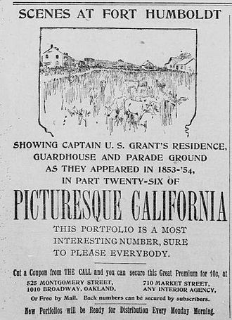 Fort Humboldt State Historic Park - Advertisement, The Morning Call (San Francisco), September 1, 1894, page 8.