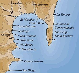 Moorish Gibraltar - Map of the Bay of Gibraltar. Tariq ibn-Ziyad was traditionally said to have landed at Gibraltar, but was more likely to have used the nearby areas of El Mirador (San Roque) or La Tunara (La Línea de la Concepción) as his landing place.