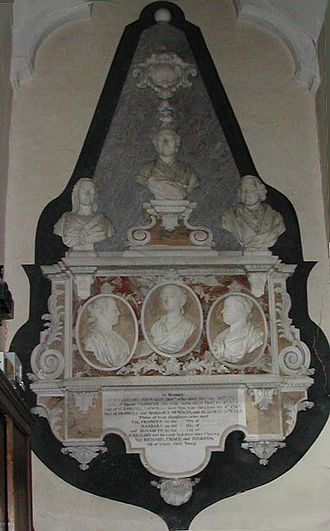 Fifehead Magdalen - Funerary memorial to Sir Richard Newman (1676 – 1721) and his family, on the north wall of the Newman Chapel, Fifehead Magdalen parish church