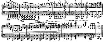 Étude - Last bars of Franz Liszt's Transcendental Étude No. 2: one of the most difficult of Liszt's études, this is a study in passages for alternating and overlapping hands.