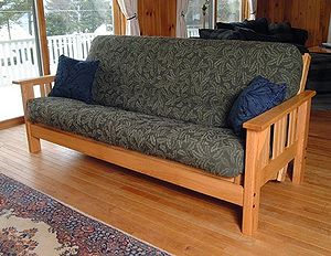 A western-style futon couch