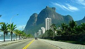 Monolith - Gavea Rock, a monolith next to the sea, near Rio de Janeiro, Brazil