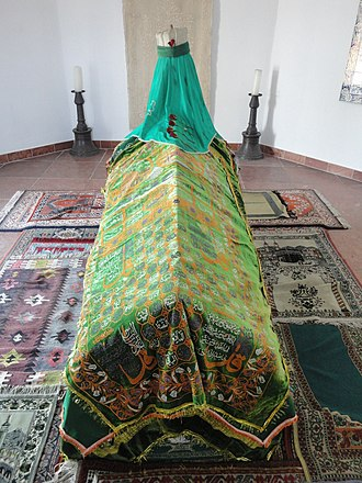 """Gül Baba - Various """"Ayat-ū Mukattaat"""" from Qur'an is woven on the pall of his casket."""