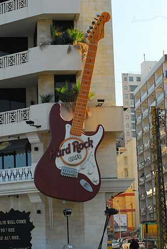 Hard Rock Cafe - Big Guitar Sign at Hard Rock Cafe, Beirut, Lebanon. This location closed in September 2013.