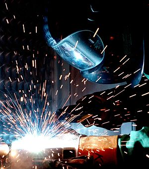 Particle - Arc welders need to protect themselves from welding sparks, which are heated metal particles that fly off the welding surface.