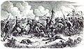 GUERRE DE L'AMÉRIQUE DU SUD. - COMBAT DE SAM-BORJA (10 juin 1865); le 1º bataillon de volontaires brésiliens deféndants son drapeau contre les Paraguayens. - D'après un croquis de M. Mynssen.jpg