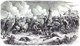 Battle of Yatay - Combat of São Borja (July 10, 1865): 1º battalion of Brazilian volunteers defending their flag against the Paraguayans (according to a sketch of M. Mynssen).