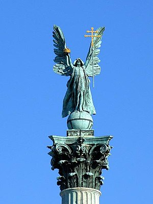 Statue of Archangel Gabriel in Budapest