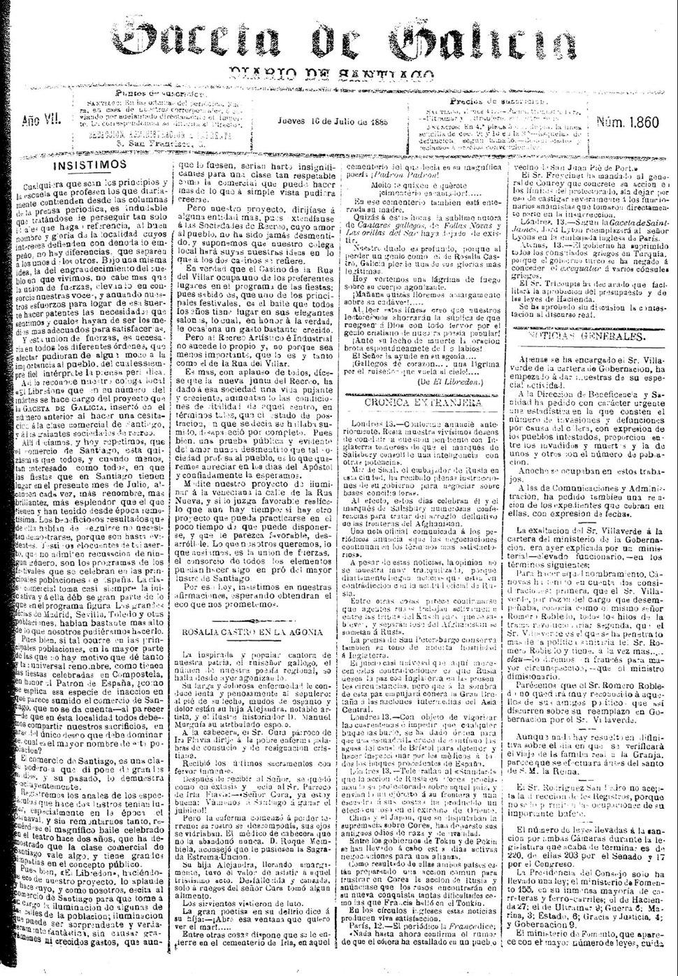 """Gaceta de Galicia, 16/7/1885, """"Rosalía Castro en la agonía""""."""
