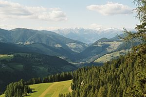 Val Badia - View northwards to San Martin de Tor