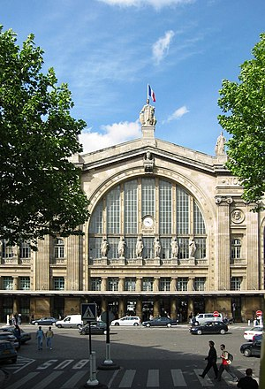View of Gare du Nord from boulevard Denain, Paris.