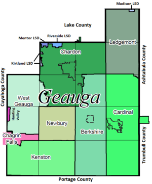 Map of school districts in Geauga County with ...