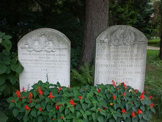 Botanical Garden of the University of Vienna - Tombstones of Nikolaus Joseph von Jacquin and  Joseph Franz von Jacquin in the garden; old position