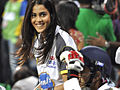 Genelia cheering at CCL, India, 2011.jpg