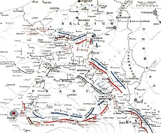 First Battle of the Marne - German and Allied positions, 23 August – 5 September 1914