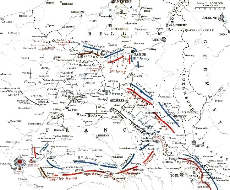 German and Allied positions, 23 August - 5 September 1914