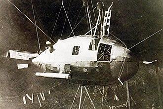 Zeppelin P Class - Wreckage of Zeppelin LZ 49 (LZ 79) after being forced down.