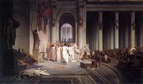 The Death of Caesar, by Jean-Léon Gérôme (1867). On March 15, 44 BC, Octavius' adoptive father Julius Caesar was assassinated by a conspiracy led by Marcus Junius Brutus and Gaius Cassius Longinus.