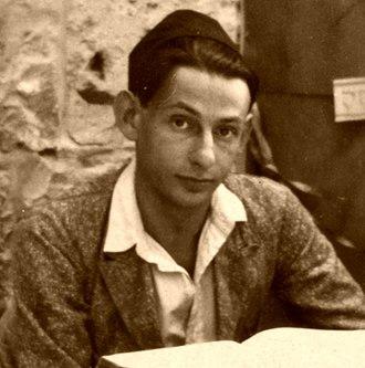 Gershom Scholem - Gershom Scholem sitting in Sukka studying the Zohar, 1925