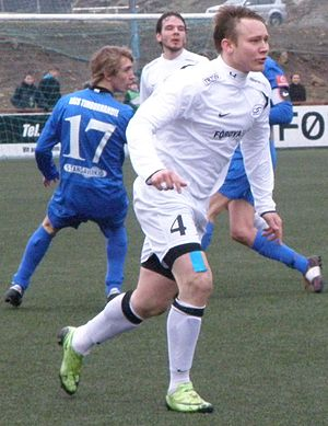 EB/Streymur - EB/Streymur and FC Suðuroy in the Faroese Cup match on 25 April 2010, which EB/Streymur won 4–1. Four months later EB/Streymur won the Cup (Løgmanssteypið). The EB/Streymur players in this photo are Gert Aage Hansen and Marni Djurhuus.