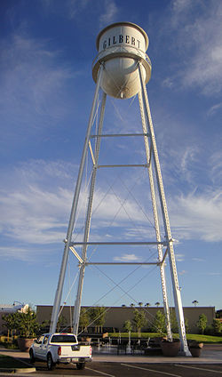 The water tower in downtown Gilbert
