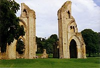 The ruins of Glastonbury Abbey, dissolved in 1539following the execution of the abbot on charges of treason