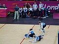 Goalball-2012-London Paralympics GBR F defending.jpg
