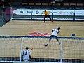 Goalball-2012-London Paralympics USA F throwing.jpg